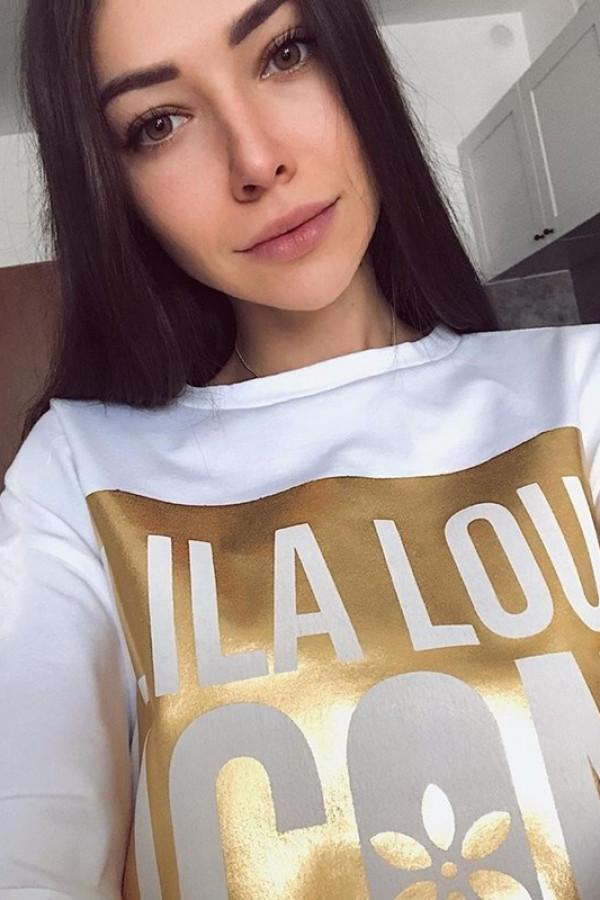T-shirt LILA LOU ICON White Gold