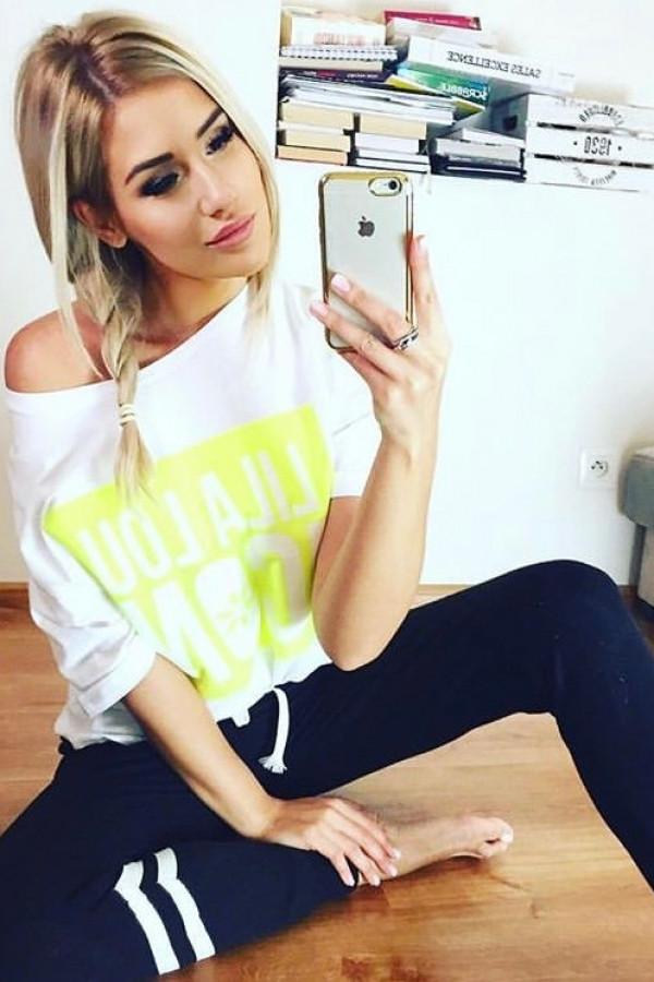 T-shirt LILA LOU ICON White Neon