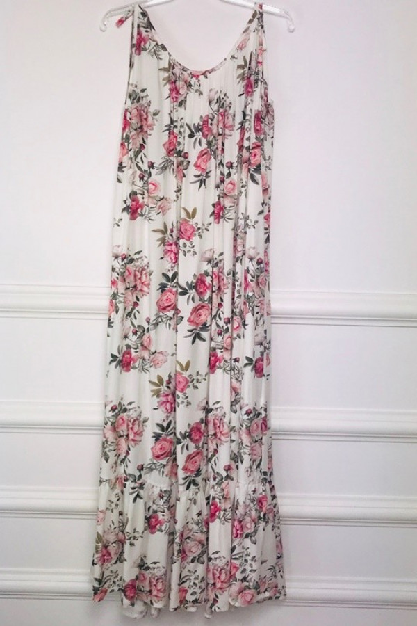 Sukienka GYPSY Kwiaty Biała 2