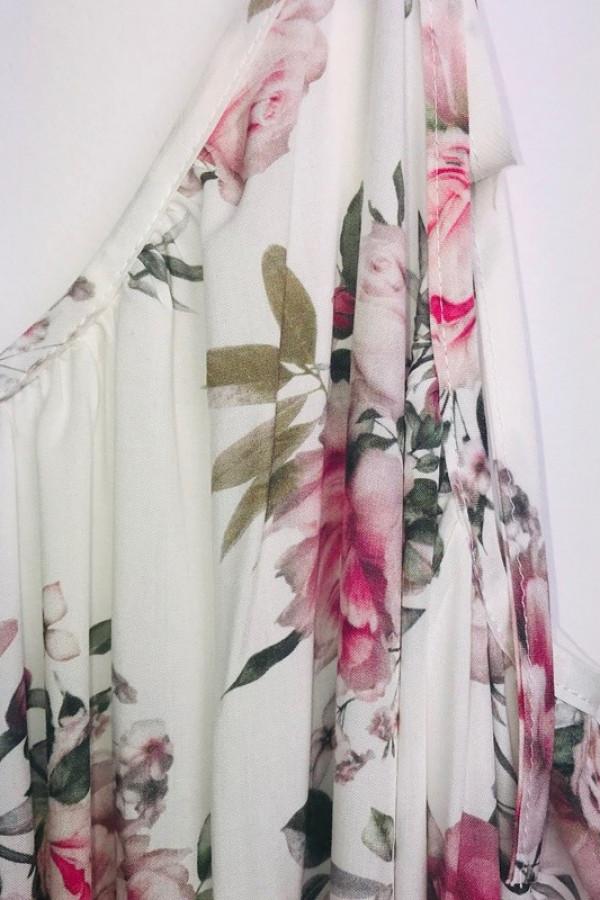 Sukienka GYPSY Kwiaty Biała 3