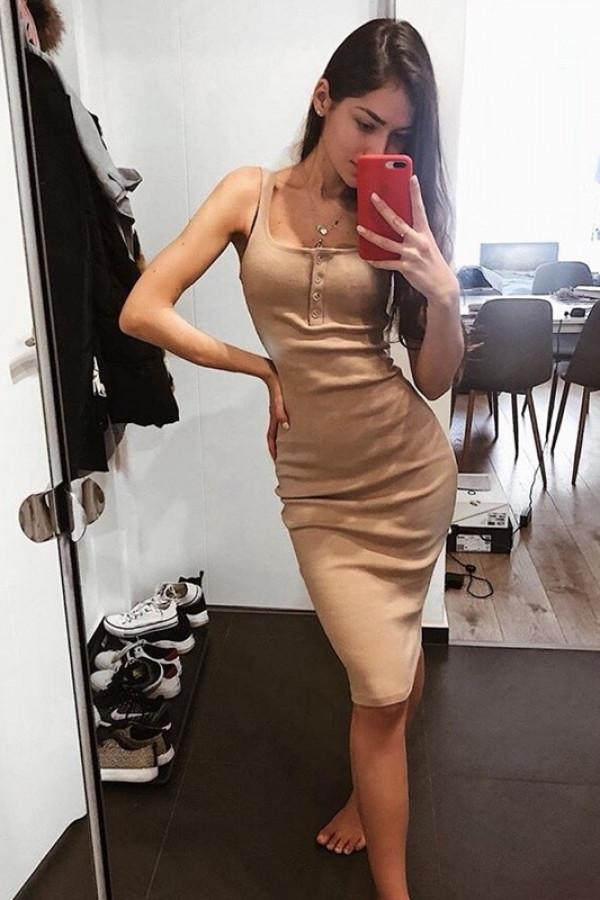 Sukienka LENA Beżowa 3