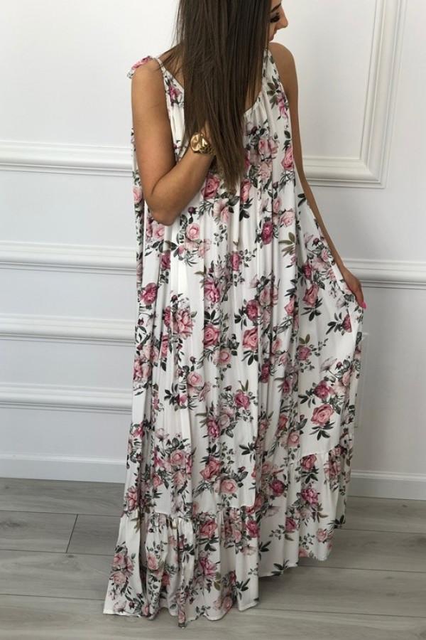 Sukienka GYPSY Kwiaty Biała