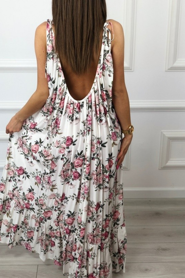 Sukienka GYPSY Kwiaty Biała 1