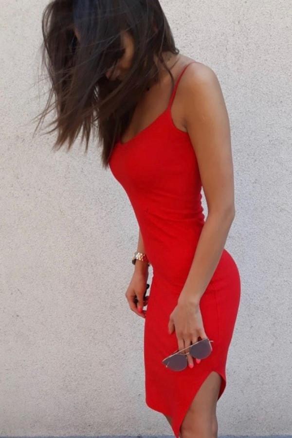 Sukienka MIDI Ramiączka Czerwona 1