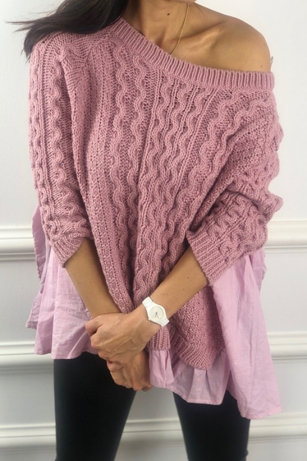 Sweter BARTI Różowy 1