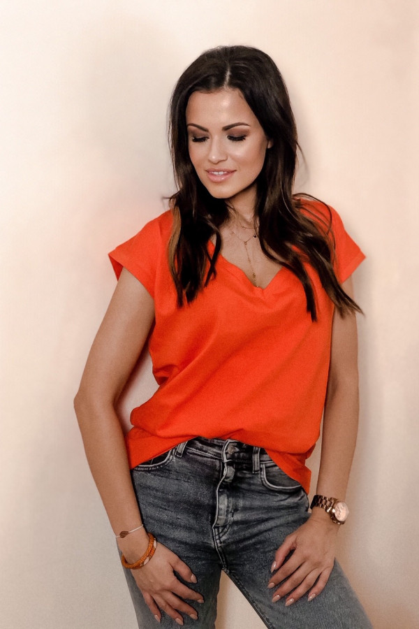 T-shirt V-NECK Basic Pomarańczowy