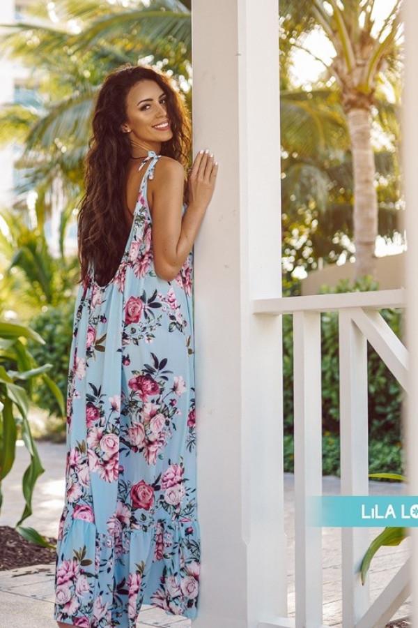 Sukienka GYPSY Kwiaty Niebieska 1