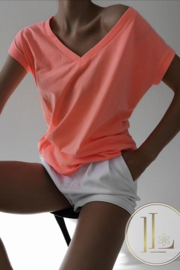 T-shirt V-NECK Basic Neon Pomarańczowy