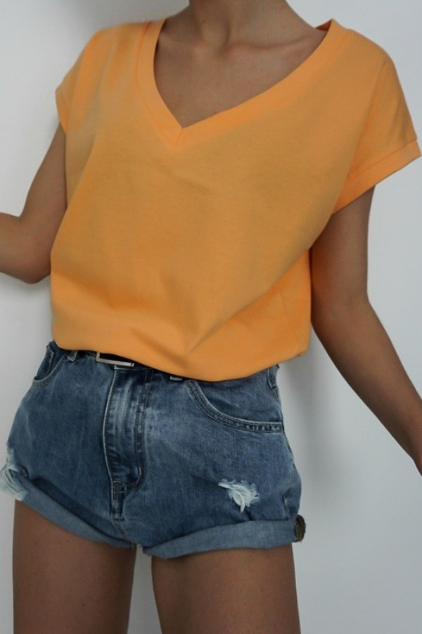 T-shirt V-NECK Orange