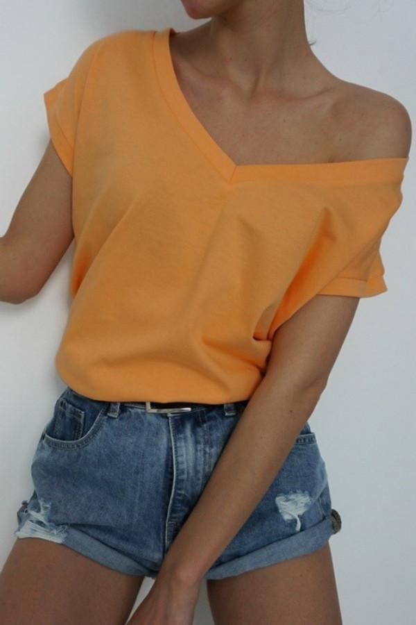 T-shirt V-NECK Orange 1