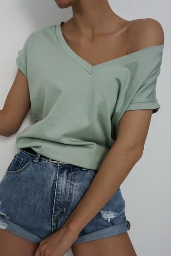 T-shirt V-NECK Olive