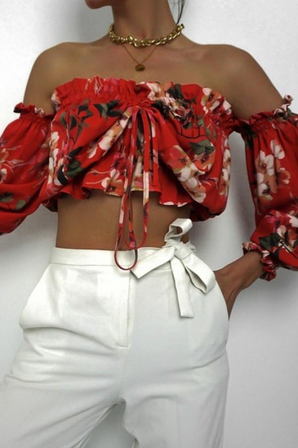 Bluzka hiszpanka BOCO Flower Red