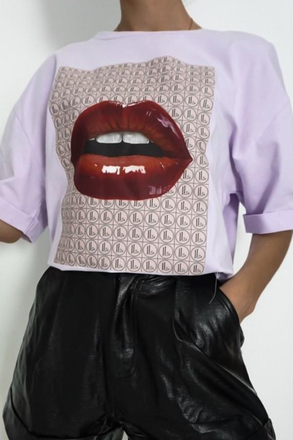 T-shirt LILA LOU LIPS Lila