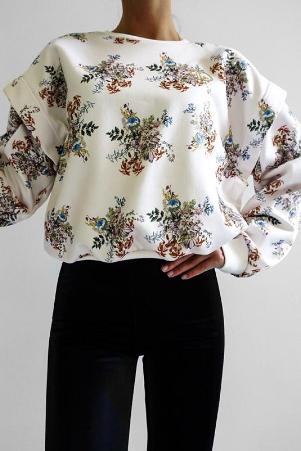Bluza SANTOS Ecru-Kwiatowy