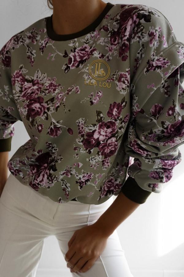 Bluza SANTOS Khaki-Kwiatowy