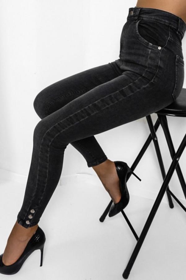 Jeansy high waist black