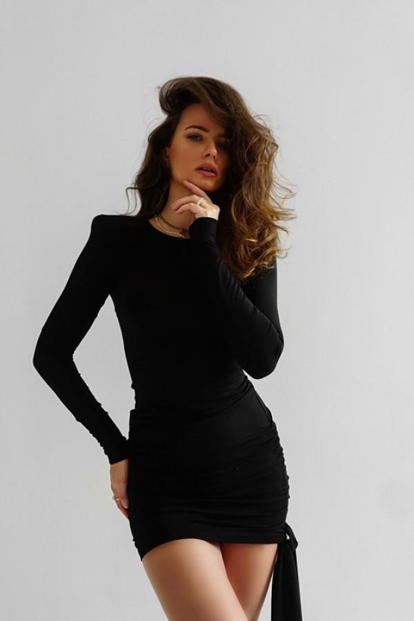 Dopasowana sukienka z długim rękawem Soczi black