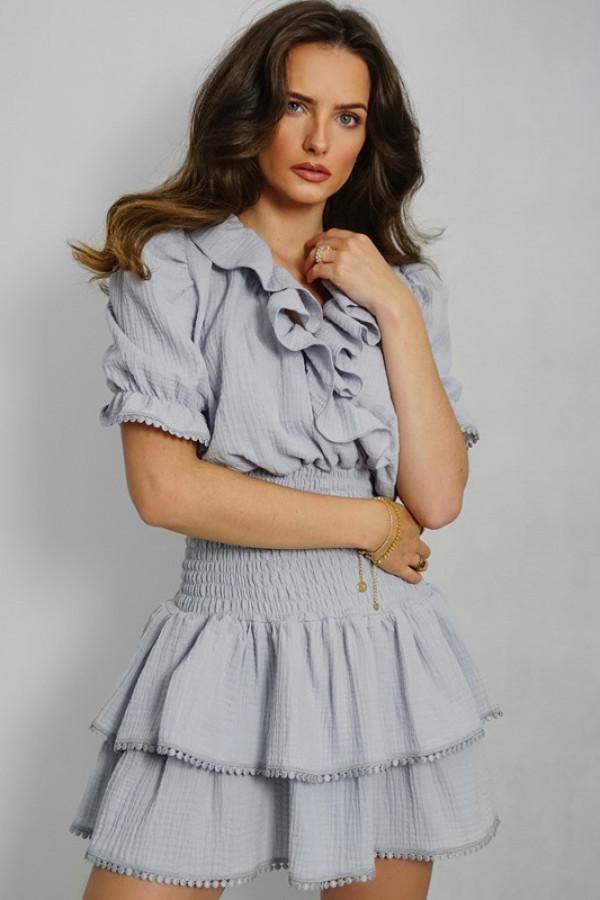 Sukienka hiszpanka boho z falbankami 338 grey