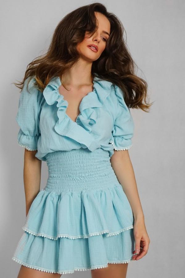 Sukienka hiszpanka boho z falbankami 338 blue