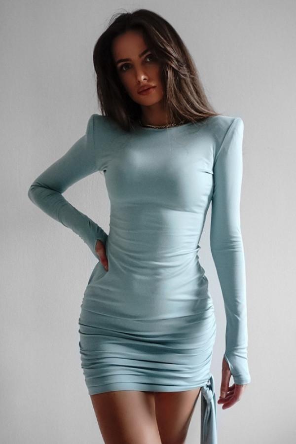 Dopasowana sukienka z długim rękawem Soczi mięta