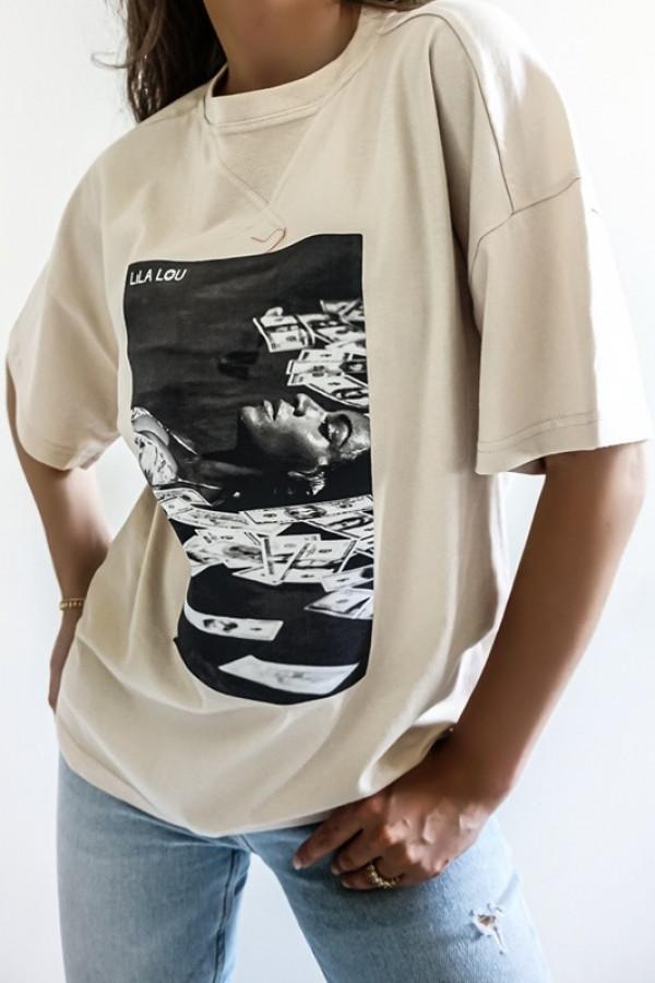 T-shirt LILALOU beige-black