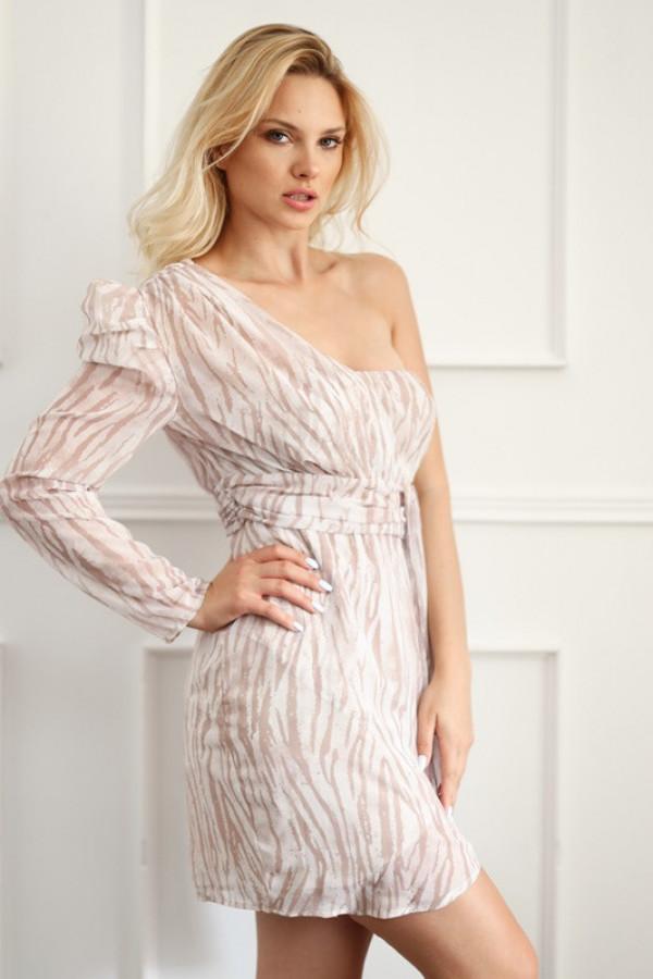 Asymetryczna sukienka MELODY beige 1
