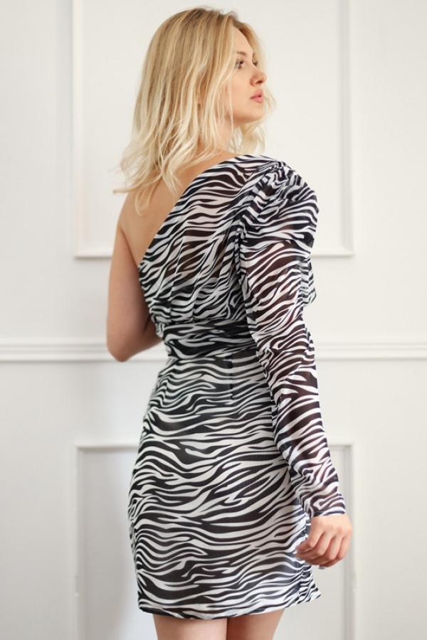Asymetryczna sukienka MELODY black and white 1
