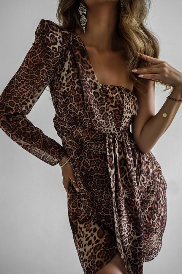 Asymetryczna sukienka MELODY brown 1