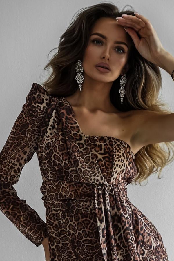 Asymetryczna sukienka MELODY brown 3