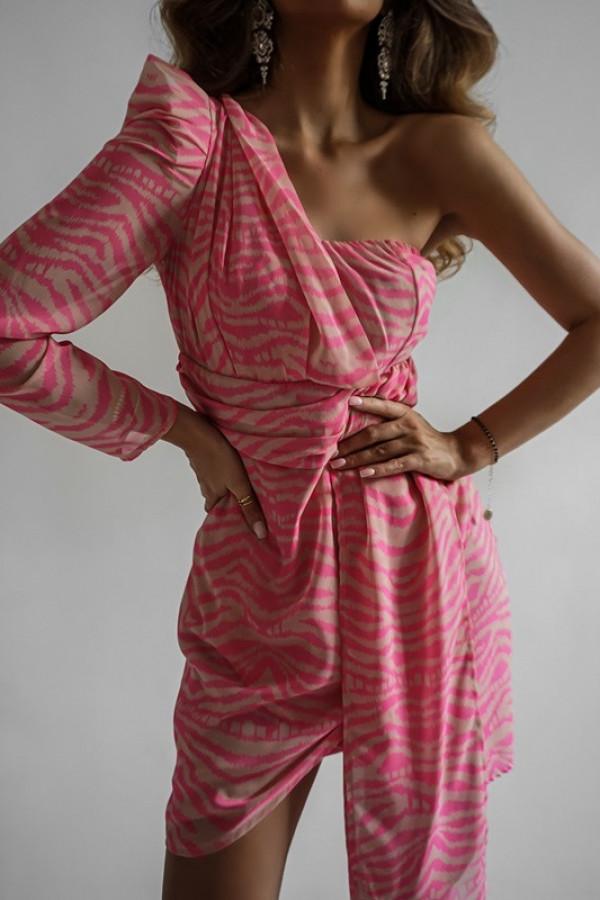 Asymetryczna sukienka MELODY pink 2