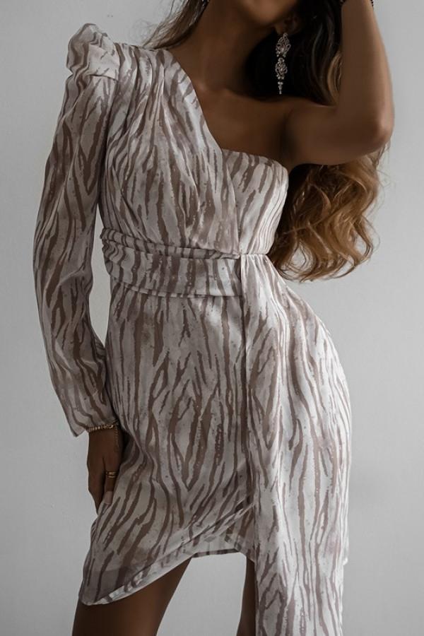 Asymetryczna sukienka MELODY beige 3