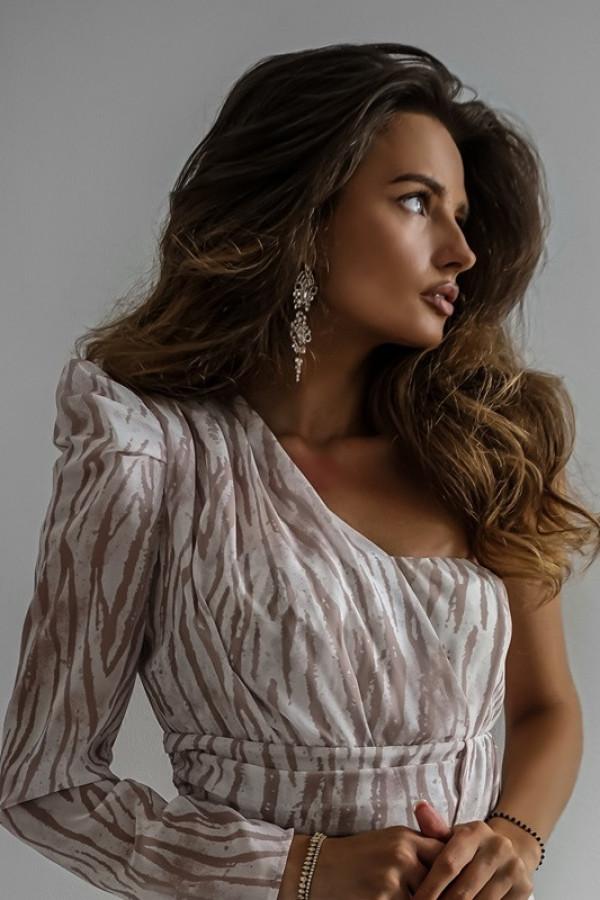 Asymetryczna sukienka MELODY beige 4