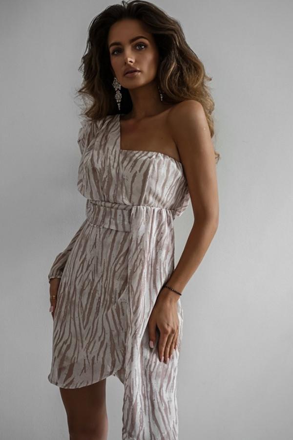 Asymetryczna sukienka MELODY beige 5