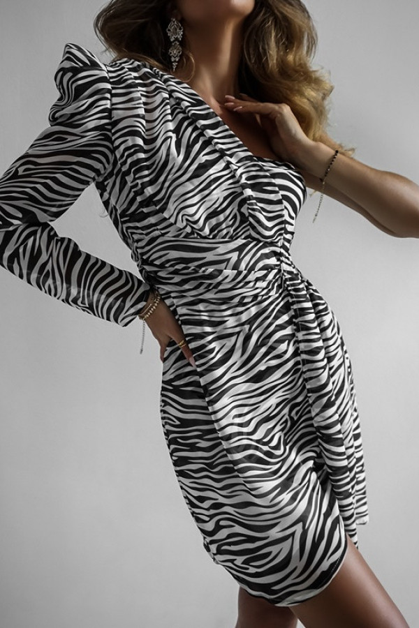 Asymetryczna sukienka MELODY black and white 4