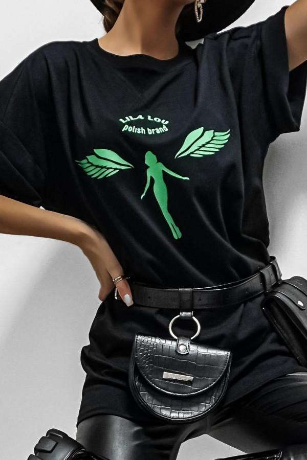 T-shirt ANGEL GREEN ON BLACK